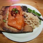 Salmon cooked on a Cedar Plank