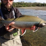 "Guide Josh ""Spud"" Fitz with big Dolly Varden"