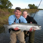 "Alex and Heather with Heather's 30"" Naknek River Rainbow Trout"